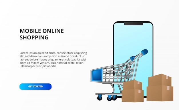 Conceito de compra on-line com smartphone com carrinho carrinho e pacote de papelão.