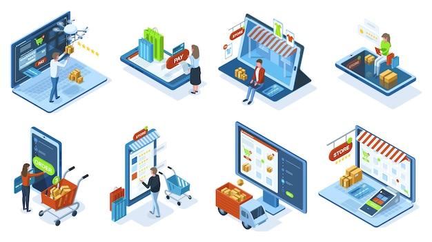 Conceito de compra on-line de e-commerce móvel isométrico. as pessoas fazem compras usando aplicativos móveis e conjunto de ilustração vetorial de sistemas de pagamento. pedidos de compras pelo celular