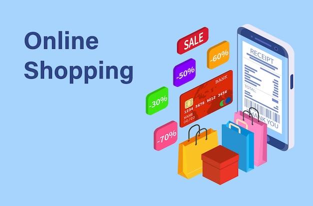 Conceito de compra on-line do telefone inteligente isométrico.