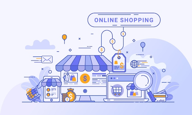 Conceito de compra on-line para página inicial da web, marketing digital no site e aplicativo móvel.