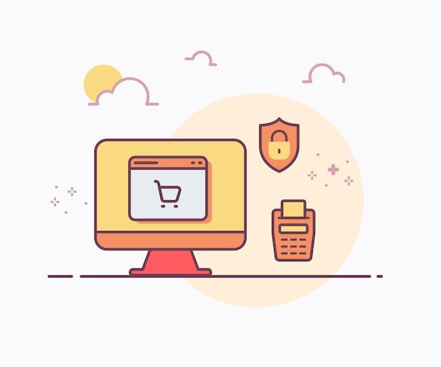 Conceito de compra online computador escudo máquina edc com ilustração de design de vetor de estilo de linha sólida de cor suave