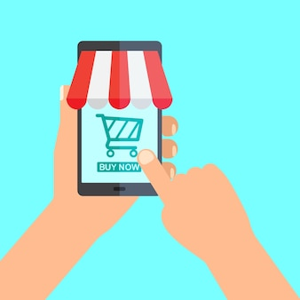 Conceito de compra online. hand holding smartphone