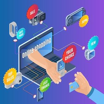 Conceito de compra online isométrica