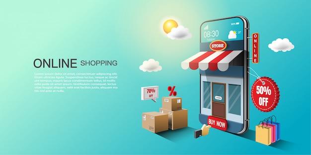 Conceito de compra online, marketing digital no site e aplicativo móvel.