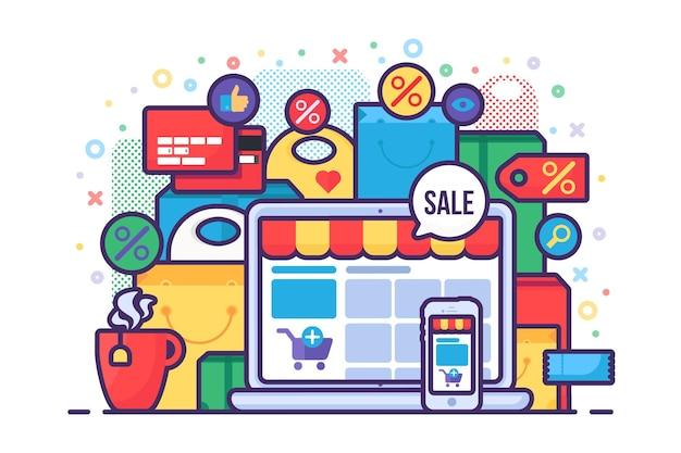 Conceito de compra online para loja de varejo