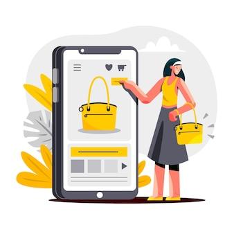 Conceito de compra online plana