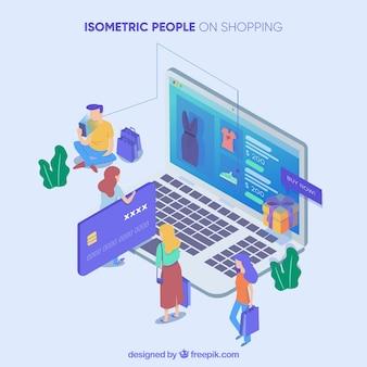 Conceito de compras com pessoas em vista isométrica