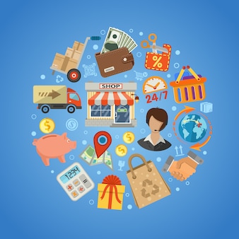 Conceito de compras e entrega