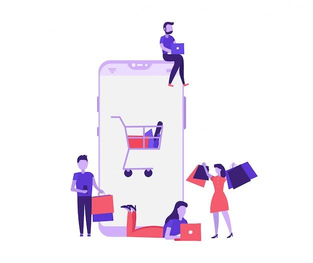 Conceito de compras mobille com as pessoas