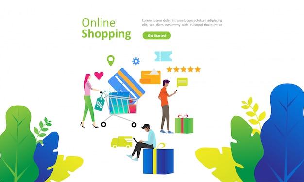 Conceito de compras on-line com caráter de pessoas para a página de destino da web