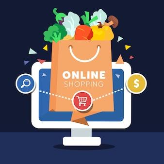 Conceito de compras on-line de varejo