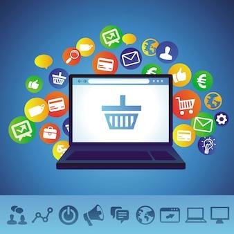Conceito de compras on-line de vetor