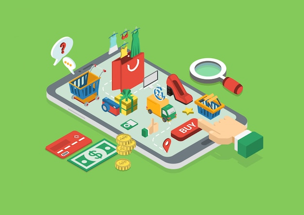 Conceito de compras on-line. dedo toque comprar botão no tablet isométrico.