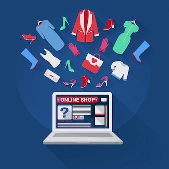 Conceito de compras on-line em design plano