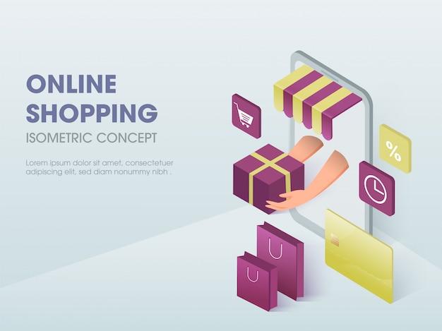 Conceito de compras on-line, ilustração isométrica.