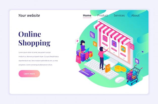 Conceito de compras on-line, jovens mulheres comprando produtos na loja online. apartamento moderno isométrico para modelo de página de destino