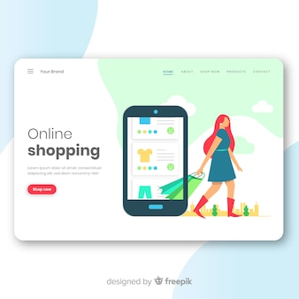Conceito de compras on-line para a página de destino