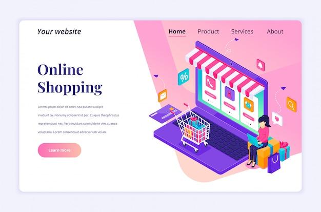 Conceito de compras on-line, uma jovem mulher usando laptop para comprar produtos na loja online. apartamento moderno isométrico para modelo de página de destino