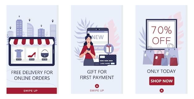 Conceito de compras online. banner de aplicativo móvel de comércio eletrônico. anúncio de aplicativo de marketing móvel e banner de mídia social. ilustração