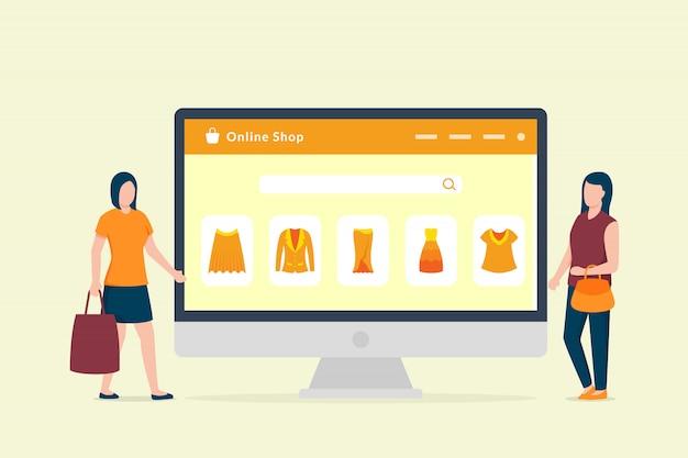 Conceito de compras online com área de trabalho do computador e ícone de compras de comércio eletrônico com duas mulheres
