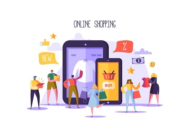 Conceito de compras online com personagens