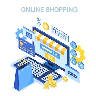 Conceito de compras online. compre na loja de varejo pela internet venda com desconto computador isométrico, dinheiro, bolsa
