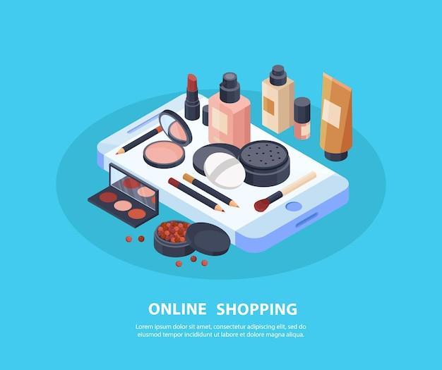 Conceito de compras online de cosméticos com símbolos de maquiagem isométricos
