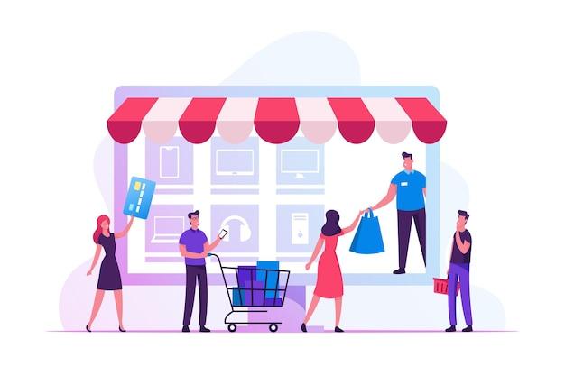 Conceito de compras online. ilustração plana dos desenhos animados