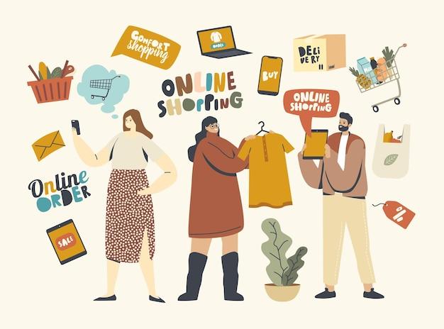 Conceito de compras online. personagens masculinos do cliente feminino com a compra de mercadorias usando o gadget. marketing digital, compras, loja na internet. as pessoas encomendam e compram coisas. ilustração vetorial linear