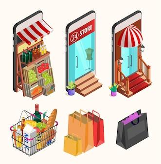 Conceito de compras online. tela isométrica de smartphones com boutique, mercado com legumes frescos, uma loja de departamentos.