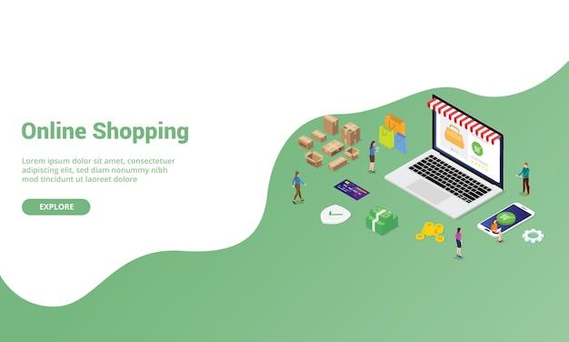 Conceito de compras ou comércio eletrônico on-line para modelo de site ou página inicial de desembarque com estilo moderno isométrico