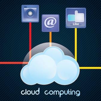 Conceito de computação em nuvem com ícones ilustração vetorial