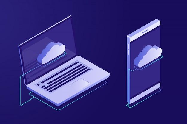 Conceito de computação em nuvem. dispositivos conectados à nuvem.