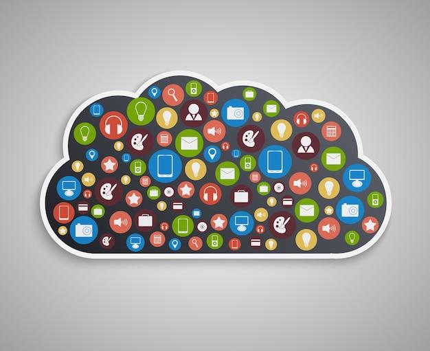Conceito de computação em nuvem. fundo de tecnologia.