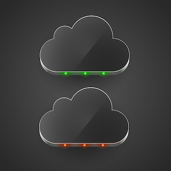 Conceito de computação em nuvem levou ilustração vetorial de nuvem