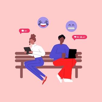 Conceito de comunicação com ilustração plana de diversas pessoas isolada.
