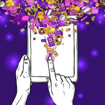 Conceito de comunicação com tablet