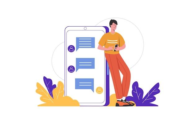 Conceito de comunicação da internet. homem envia mensagens e bate-papos no messenger com amigos no aplicativo móvel. usuários de mídia social conversam cena de pessoas isolada. ilustração vetorial em design plano minimalista