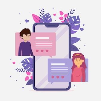 Conceito de comunicação de aplicativo de namoro