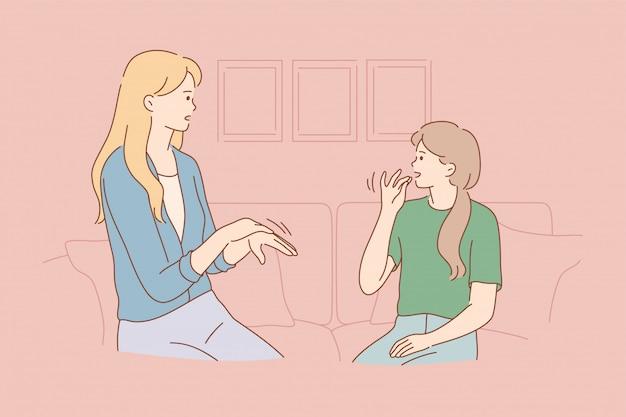 Conceito de comunicação de estudo de ensino de educação para deficientes
