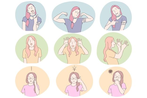 Conceito de comunicação de linguagem gestual, gestos, mãos e expressão facial. desenho de meninas