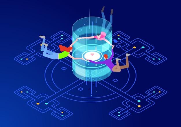 Conceito de comunicação de realidade virtual com personagens Vetor Premium