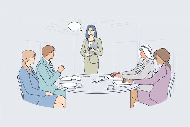 Conceito de comunicação de trabalho em equipe para apresentação em reunião de negócios