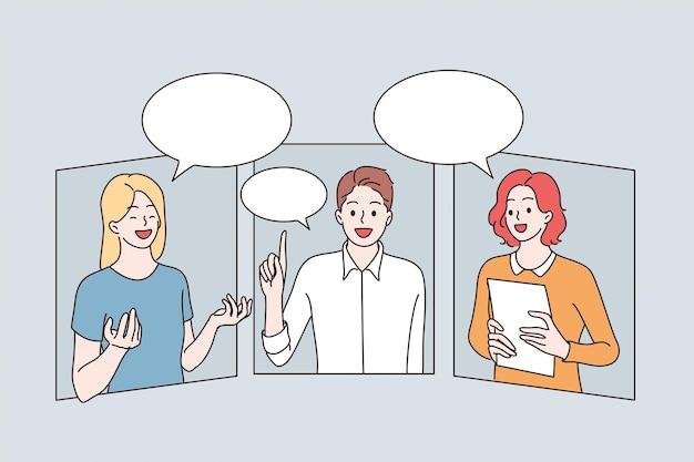 Conceito de comunicação e videoconferência online