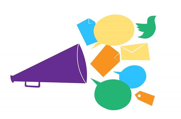 Conceito de comunicação nos canais de mídia social