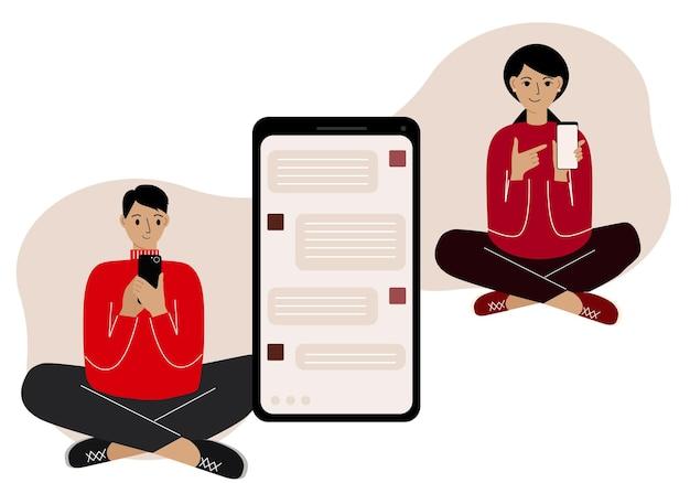 Conceito de comunicação online. correspondência online de pessoas em mensagens. um homem e uma mulher sentam-se de pernas cruzadas e se correspondem ao telefone. gráficos vetoriais.
