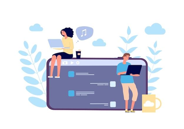 Conceito de comunicação virtual. ilustração em vetor bate-papo online de jovens. personagens de menino menina, mídia social, mensagem, namoro online. bate-papo social online, mensagem telefônica, comunicação pela internet