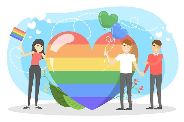 Conceito de comunidade lgbt. idéia de homossexual e bissexual