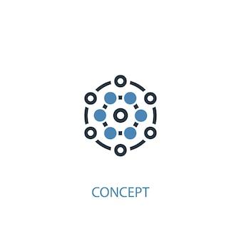 Conceito de conceito 2 ícone colorido. ilustração do elemento azul simples. conceito conceito símbolo design. pode ser usado para ui / ux da web e móvel