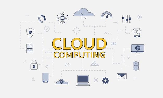 Conceito de conceito de computação em nuvem com conjunto de ícones com grande palavra ou texto no centro de ilustração vetorial